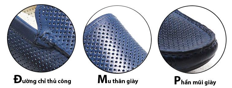 Giày mọi nam cao cấp màu xanh hiệu DERKSEN (GM27569X)
