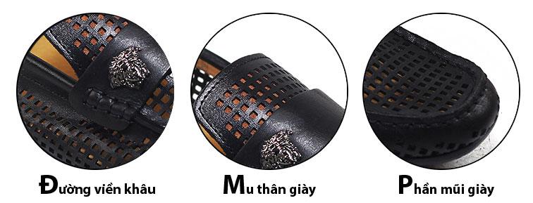 Giày mọi nam đục lỗ màu đen (GM982D)