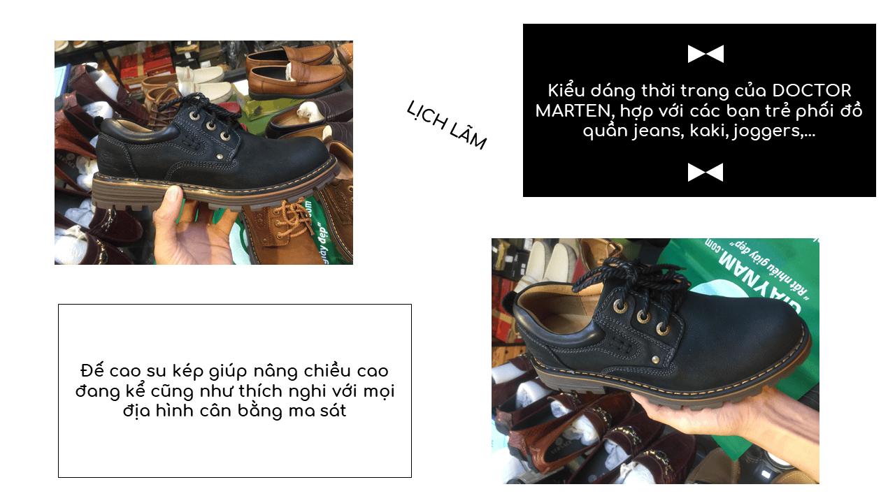 Giày buộc dây thời trang kiểu dáng doctor marten lịch lãm 2018 màu đen; Mã số BD2020D13