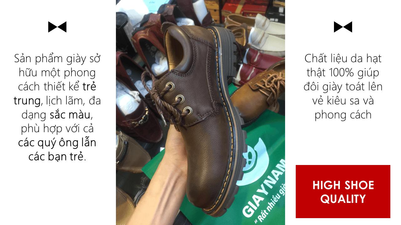 Giày buộc dây kiểu dáng doctor marten màu nâu huyền bí mùa đông 2018; Mã số BD2020N14