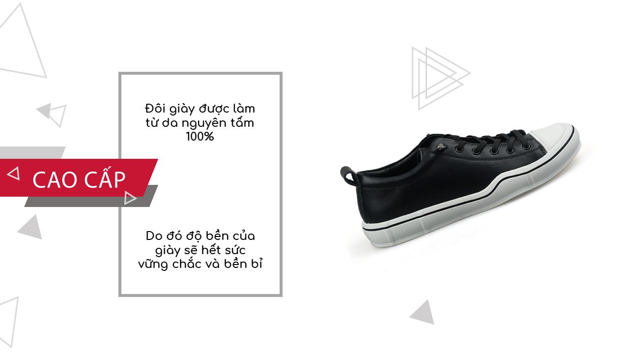 Giày buộc dây thời trang thương hiệu luminguei cao cấp chính hãng màu đen trắng BD1210T6