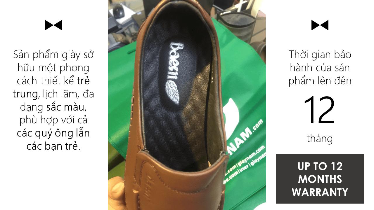 Giày lười thời trang màu nâu thời thượng 2018 nhập khẩu; Mã số GL5507N10