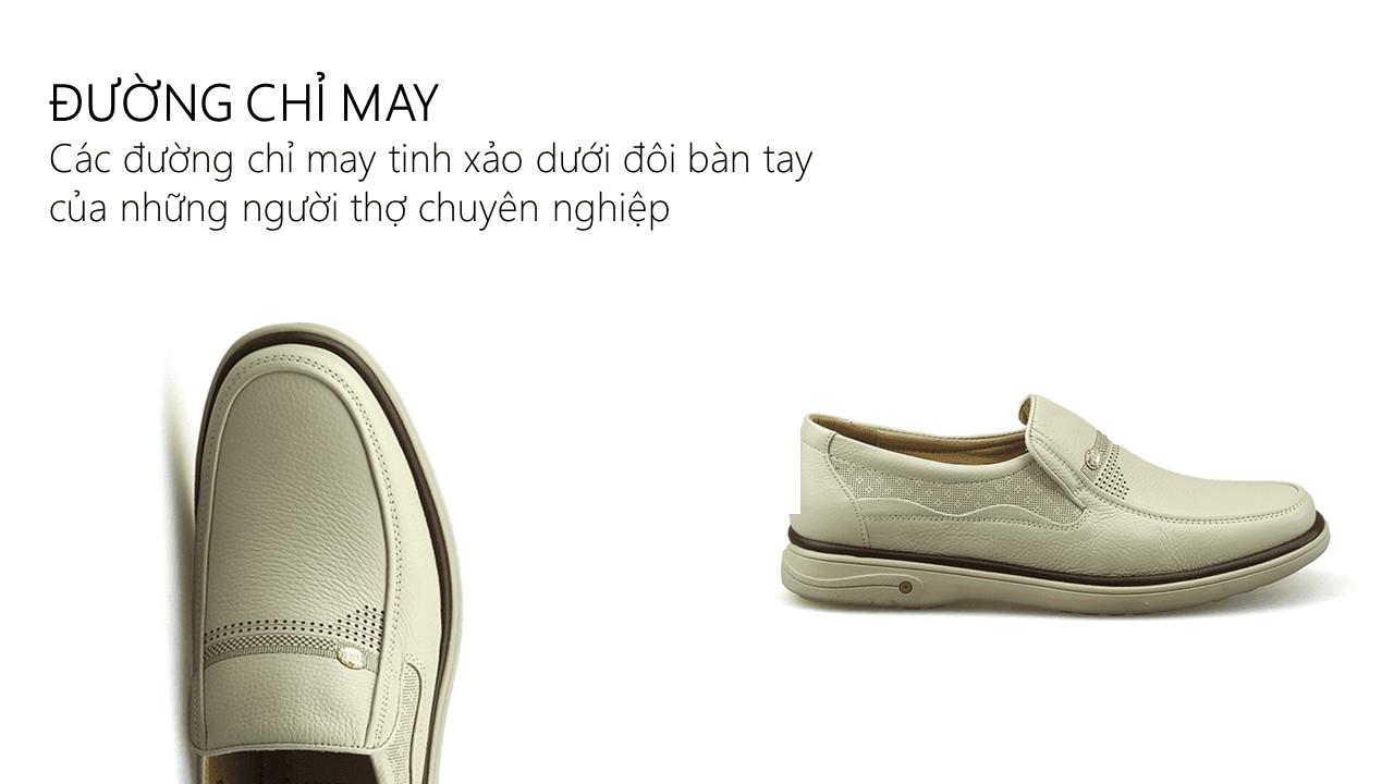 Giày lười màu trắng quý phải rành riêng cho phái mạnh GL88823T5