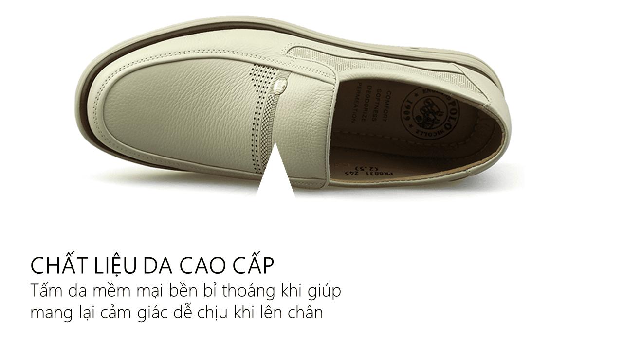 Giày lười màu trắng quý phải rành riêng cho phái mạnh GL88823T6