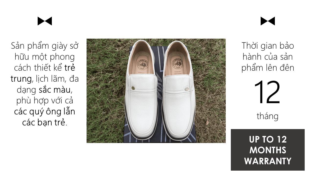 Giày lười màu trắng sữa quý phái mang đậm khí chất CEO; Mã số GL88832TS10