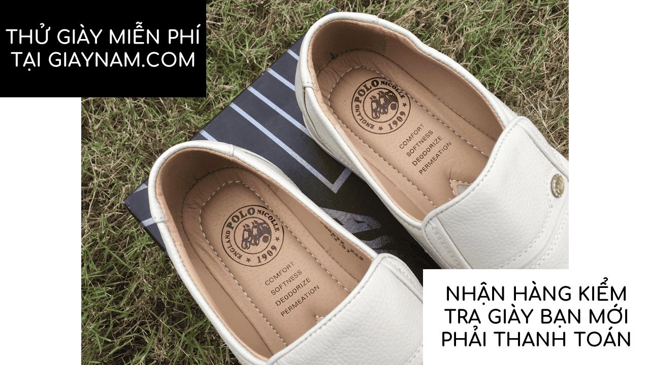 Giày lười màu trắng sữa quý phái mang đậm khí chất CEO; Mã số GL88832TS11