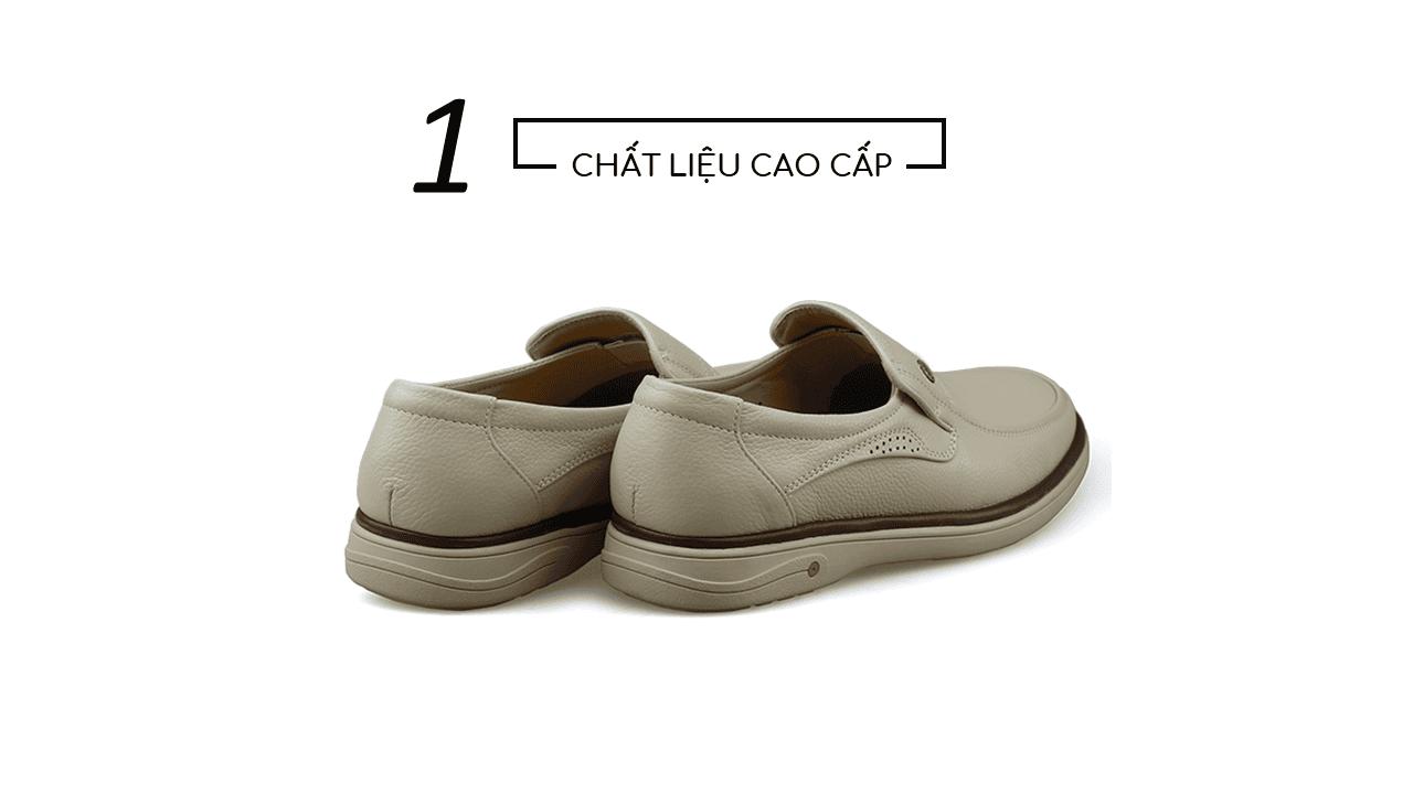 Giày lười màu trắng sữa quý phái mang đậm khí chất CEO; Mã số GL88832TS4