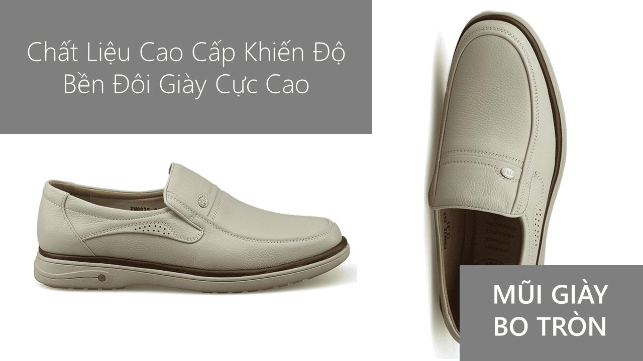 Giày lười màu trắng sữa quý phái mang đậm khí chất CEO; Mã số GL88832TS5