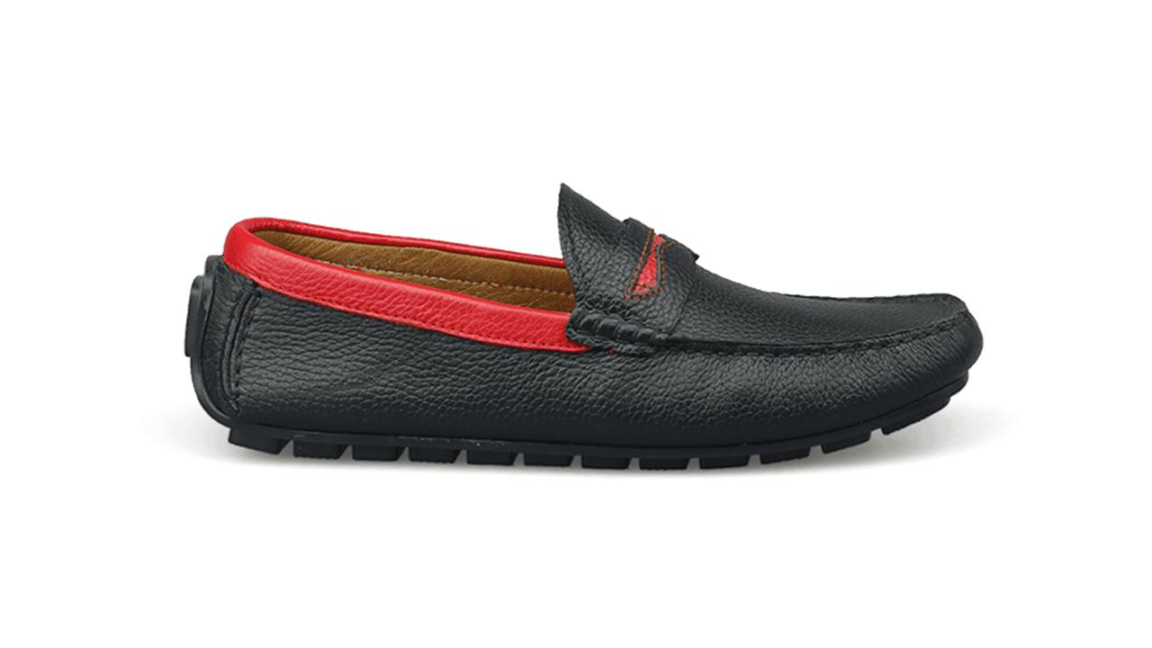 giày mọi nam bốn mùa màu đen viền đỏ gm931dd1