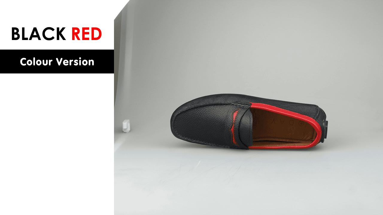 giày mọi nam bốn mùa màu đen viền đỏ gm931dd11