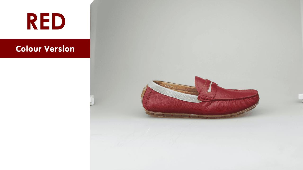 giày mọi nam bốn mùa màu đen viền đỏ gm931dd13