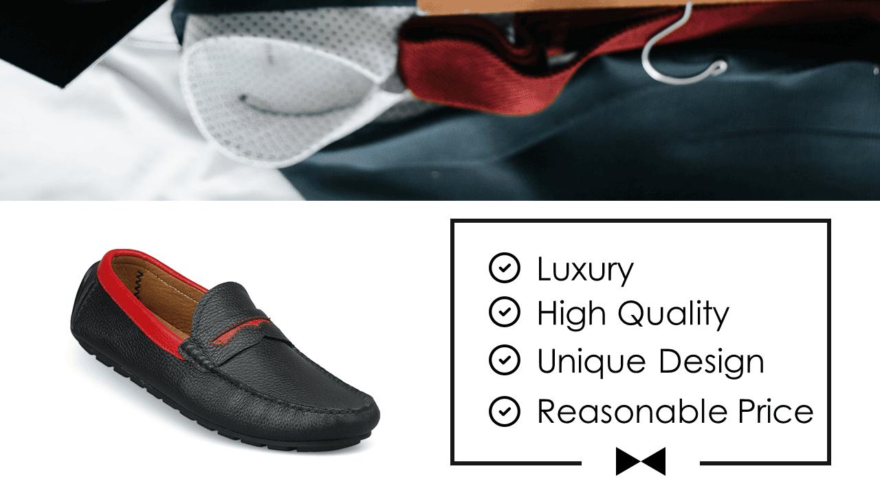 giày mọi nam bốn mùa màu đen viền đỏ gm931dd2
