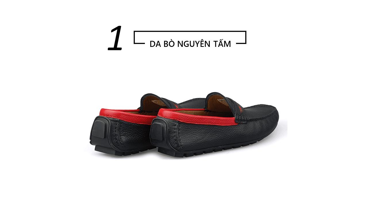giày mọi nam bốn mùa màu đen viền đỏ gm931dd4