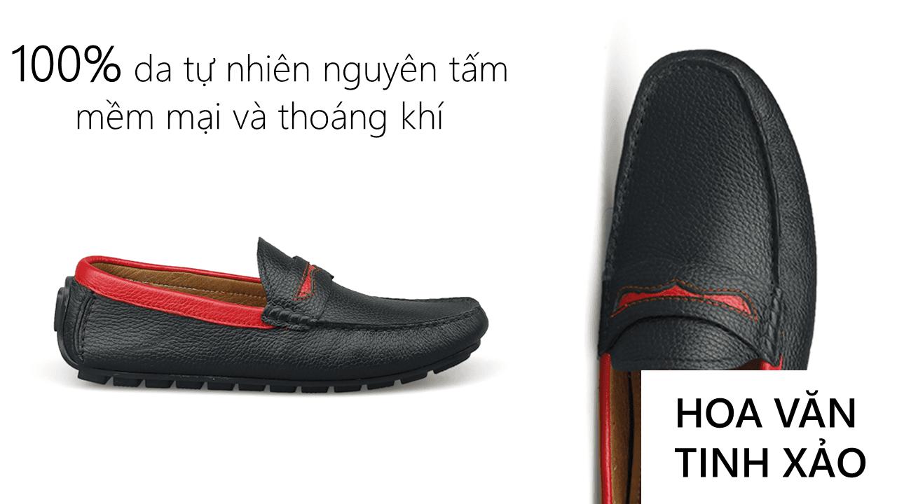 giày mọi nam bốn mùa màu đen viền đỏ gm931dd5
