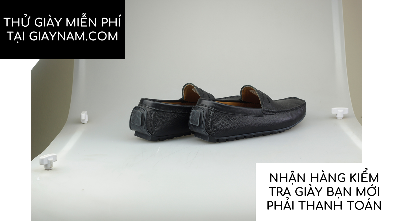 giày mọi nam mùa hè màu đen lịch lãm gm931d17