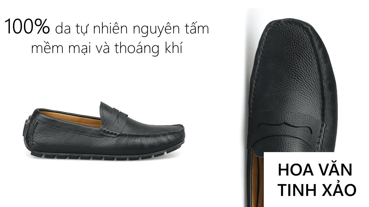 giày mọi nam mùa hè màu đen lịch lãm gm931d5