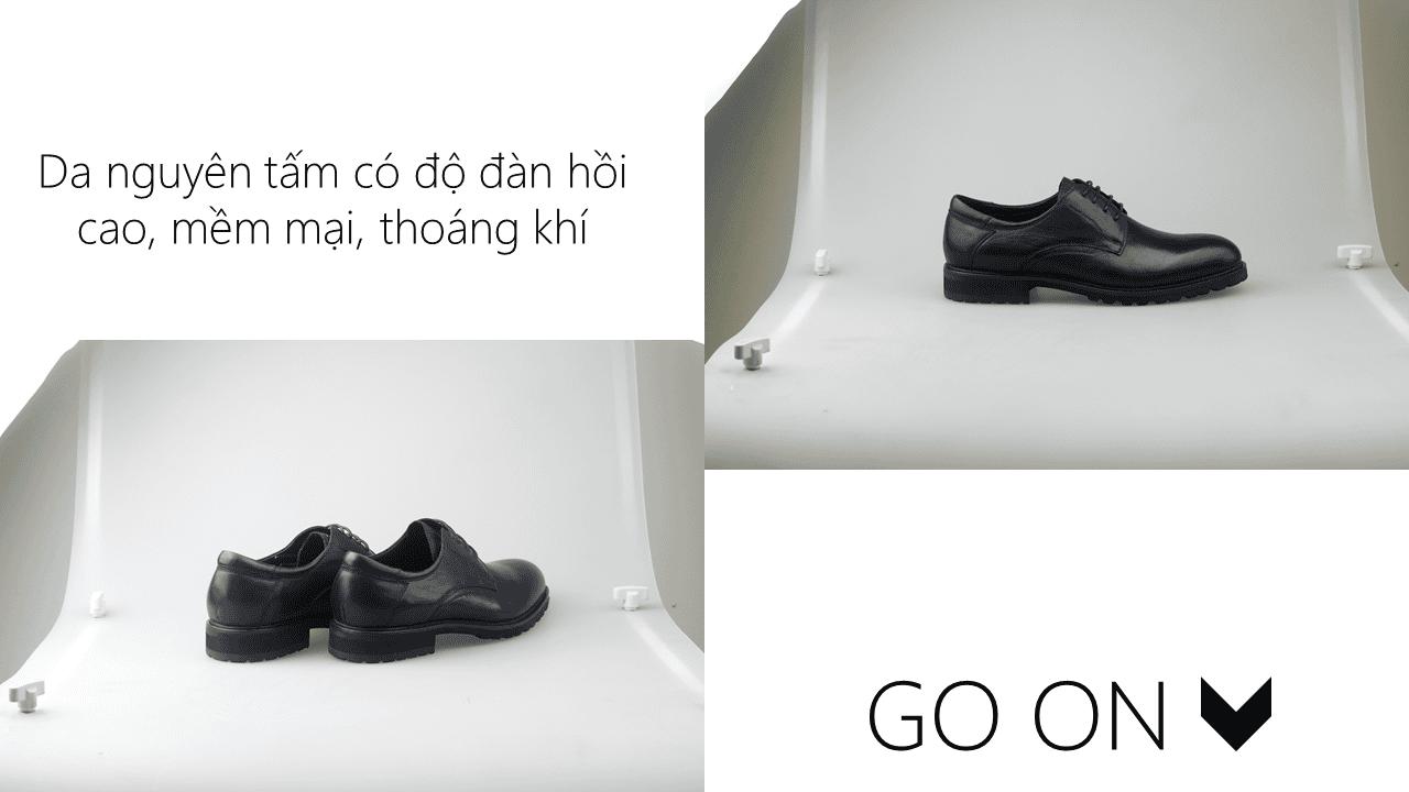 Giày thời trang nam đề viền răng cưa màu đen 4