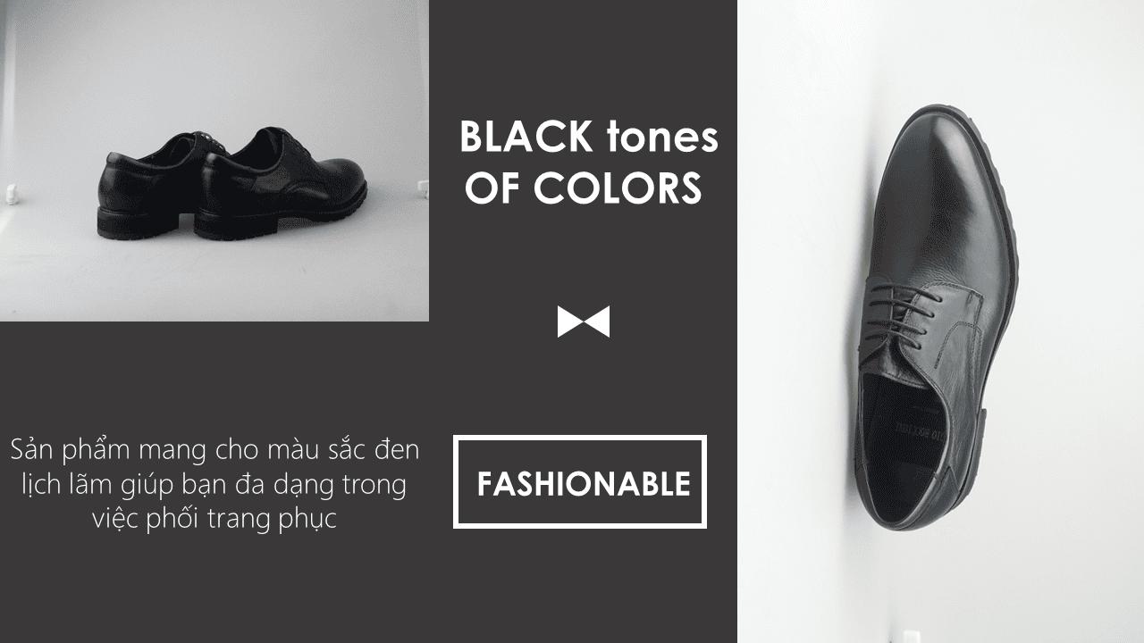 Giày thời trang nam đề viền răng cưa màu đen 9