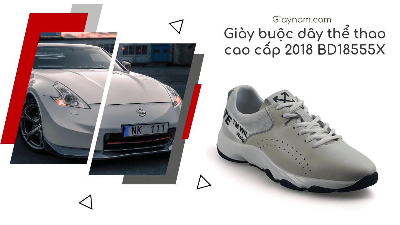 Giày thể thao năng động 2018 màu trắng xám hàng nhập khẩu