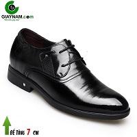Giày cao buộc dây 7cm tiêu chuẩn châu âu 2018 màu đen bóng; Mã số GC88855D