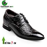 Giày công sở buộc dây tăng chiều cao 7Cm Hiệu GOG đen bóng họa tiết lạ mắt Mã GCD878226D
