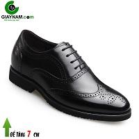 Giày da đế cao 7cm phong cách Châu Âu hạng sang màu đen không gian; Mã số GC68668D