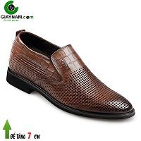 Giày lười cao 7cm đục lỗ màu nâu bánh mật đẹp; Mã số GCL81873