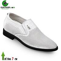 Giày lười cao 7cm đục lỗ màu trắng bạch mã; Mã số GCL88872