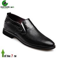 Giày lười nam đục lỗ cao 7cm màu đen không gian; Mã số GCL81871